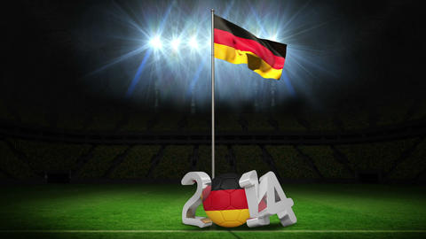 Germany national flag waving on football pitch with message Animation