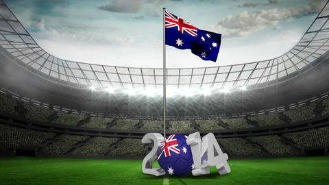 Australia national flag waving in football stadium Animation