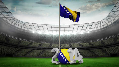 Bosnia and Herzegovina national flag waving in foo Animation