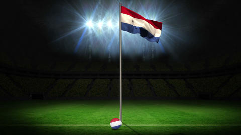 Netherlands national flag waving on flagpole Animation