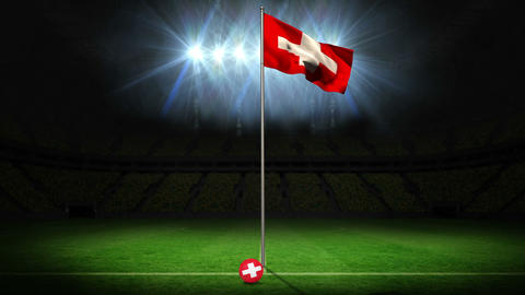 Switzerland national flag waving on flagpole Animation