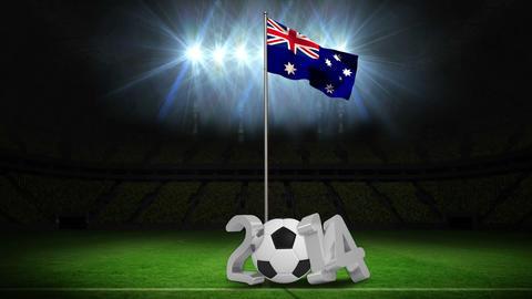 Australia national flag waving on flagpole with message Animation