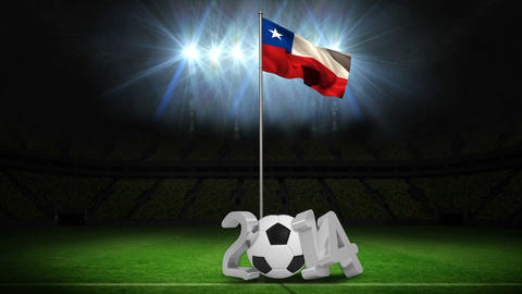 Chile national flag waving on flagpole with message Animation