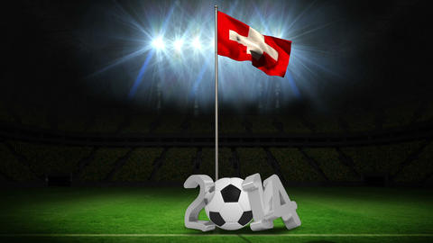 Switzerland national flag waving on flagpole with 2014 message Animation