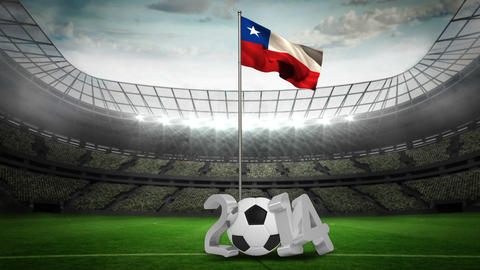 Chile national flag waving on flagpole with 2014 m Animation