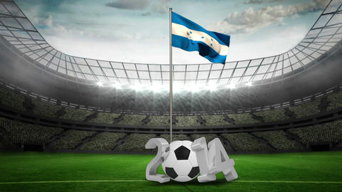 Honduras national flag waving on flagpole with 2014 message Animation
