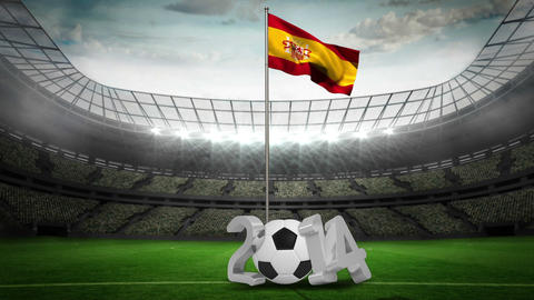 Spain national flag waving on flagpole with 2014 message Animation