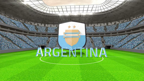 Argentina world cup message with badge and text Animation