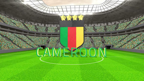 Cameroon world cup message with badge and text Animation