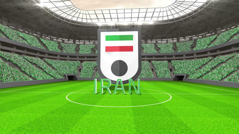 Iran world cup message with badge and text Animation