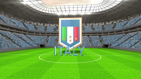 Italy world cup message with badge and text Animation