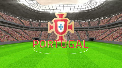 Portugal world cup message with badge and text Animation
