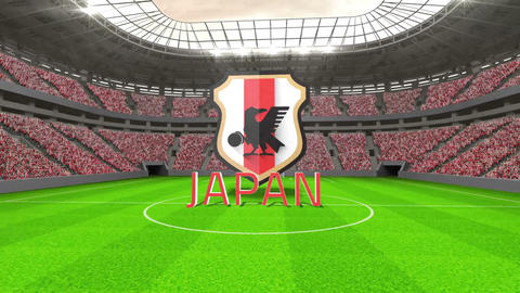 Japan world cup message with badge and text Animation