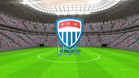 United States world cup message with badge and tex Animation
