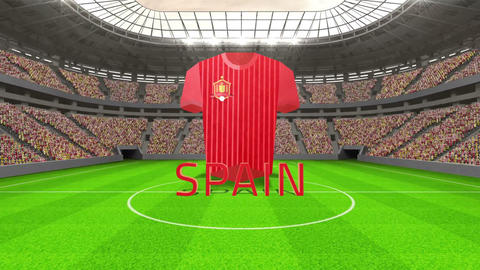 Spain world cup message with jersey and text Animation