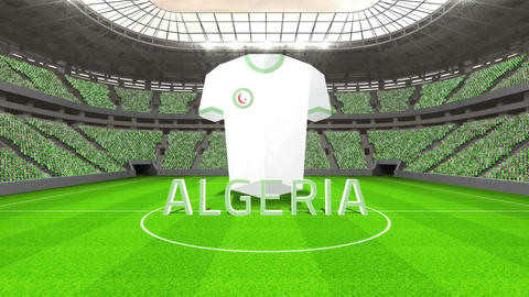 Algeria world cup message with jersey and text Animation