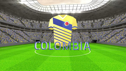 Colombia world cup message with jersey and text Animation