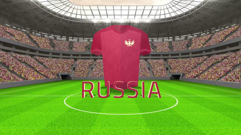 Russia world cup message with jersey and text Animation