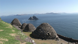 Beehive huts overlooking Skellig Michael Footage