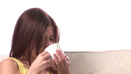 Woman Pensive with Coffee Footage