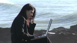 Business Woman Working Outdoors Footage