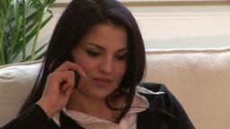 Woman on Sofa on Mobile Phone Footage
