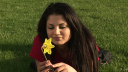 Woman Smelling Flower Footage