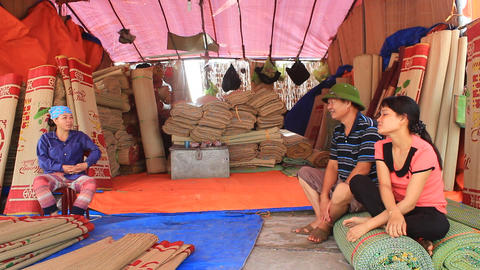 Market selling bed mats,Asia Live Action
