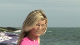 Woman relaxing at Beach Footage