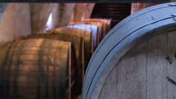 Pull Focus on Wine Barrels Footage