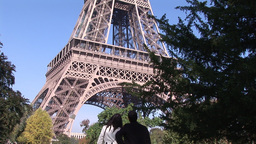 Looking at Eiffel Tower in Paris Live Action