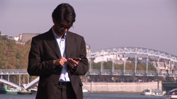 Businessman outdoors in Paris Stock Video Footage