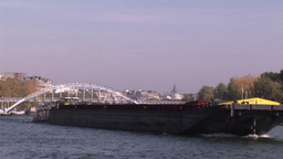 Cargo Ship on Seine Footage