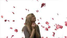 Woman Looking at Roses Falling 2 Footage