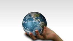 Woman holding a Globe Animation