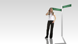 Woman Standing Talking On Phone stock footage