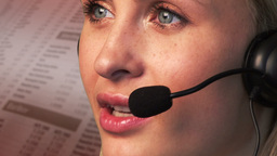 Young Businesswoman talking and Smiling on a headset Animation