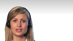 Close up of an attractive businesswoman with headset Animation