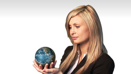 Business woman holding the world Animation