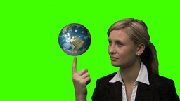 Businesswoman with the earth rotating in her hands Animation