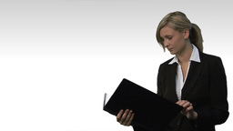 Young beautiful business woman holding file 3 Animation