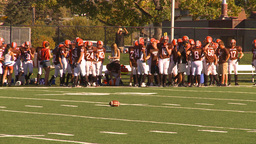 HD2009-9-36-12 high school football team at the bench Stock Video Footage