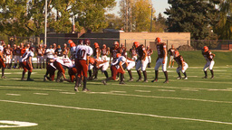 HD2009-9-36-14 high school football huddle to pass tackle Stock Video Footage