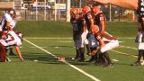 HD2009-9-36-18 High School Football Huddle Pass stock footage