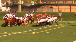HD2009-9-36-24 high school football huddle run TD Stock Video Footage