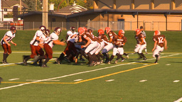 HD2009-9-36-24 high school football huddle run TD Stock Video Footage
