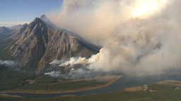 HD2009-9-37-6 Forest fire heavy smoke aerial Stock Video Footage