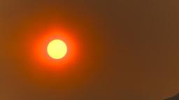 HD2009-9-38-11 smoky red sun Stock Video Footage