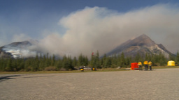 HD2009-9-39-13 forest fire heavy smoke pan helos Stock Video Footage