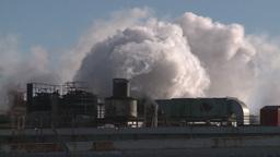 winter 3 smoke stacks cold Stock Video Footage